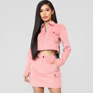 Fashion Nova NWT Klarissa Corduroy Skirt Set